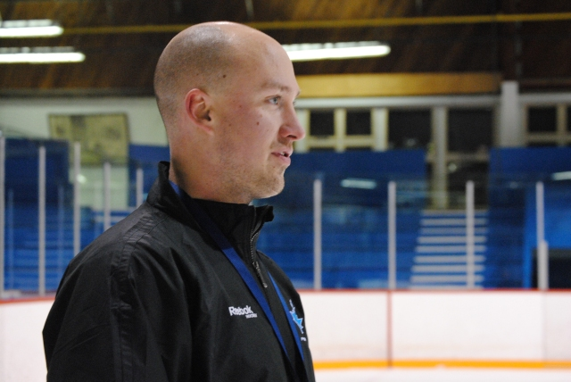 File Photo: Coach Hengen focused in on a Vees practice in 2013