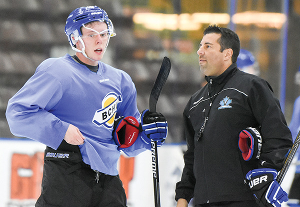 Coach and General Manager Fred Harbinson of the Penticton Vees of the BC Hockey League talks with the newest Vee, Nicholas Jones at Monday's practice at the South Okanagan Events Centre. Jones had previously been playing for the Ohio State Buckeyes and is expected to be in the line up in the Vee's home game Friday against the Merritt Centennials. Mark Brett/Penticton Western News